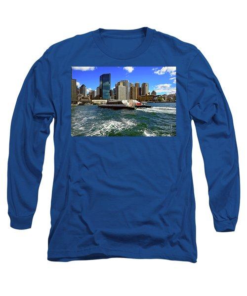 Sydney Skyline From Harbor By Kaye Menner Long Sleeve T-Shirt by Kaye Menner