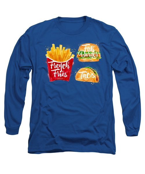 White French Fries Long Sleeve T-Shirt by Aloke Design