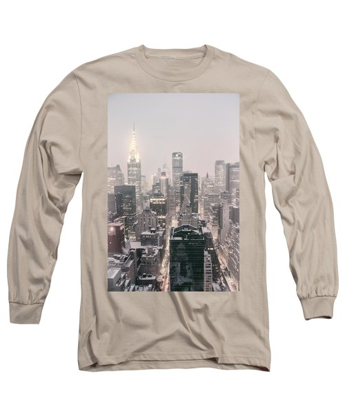 New York City - Snow Covered Skyline Long Sleeve T-Shirt by Vivienne Gucwa