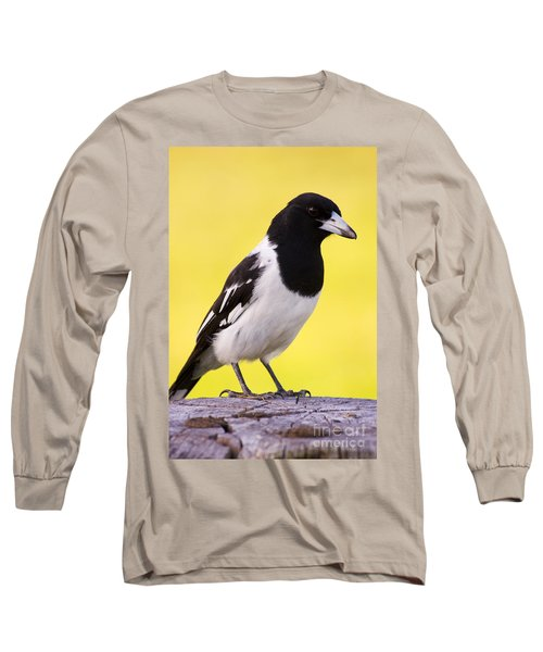 Fencepost Magpie Long Sleeve T-Shirt by Jorgo Photography - Wall Art Gallery
