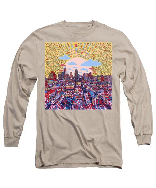 Austin Texas Abstract Panorama 2 Long Sleeve T-Shirt by Bekim Art