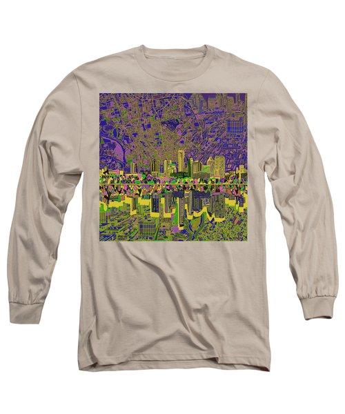 Austin Texas Skyline Long Sleeve T-Shirt by Bekim Art