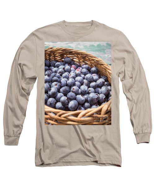 Basket Of Fresh Picked Blueberries Long Sleeve T-Shirt by Edward Fielding