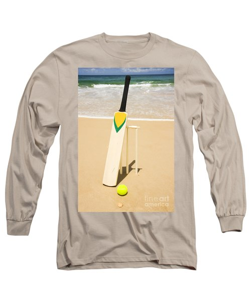 Bat Ball And Stumps Long Sleeve T-Shirt by Jorgo Photography - Wall Art Gallery