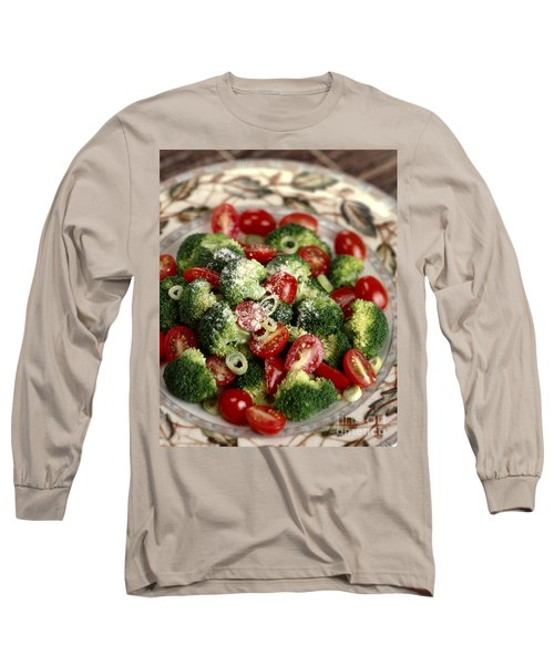 Broccoli And Tomato Salad Long Sleeve T-Shirt by Iris Richardson