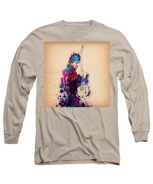 Bruce Springsteen Splats And Guitar Long Sleeve T-Shirt by Bekim Art