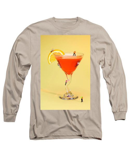 Climbing On Red Wine Cup Long Sleeve T-Shirt by Paul Ge