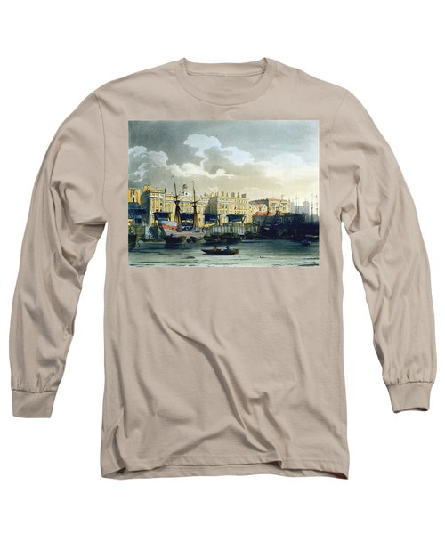 Custom House From The River Thames Long Sleeve T-Shirt by T. & Pugin, A.C. Rowlandson