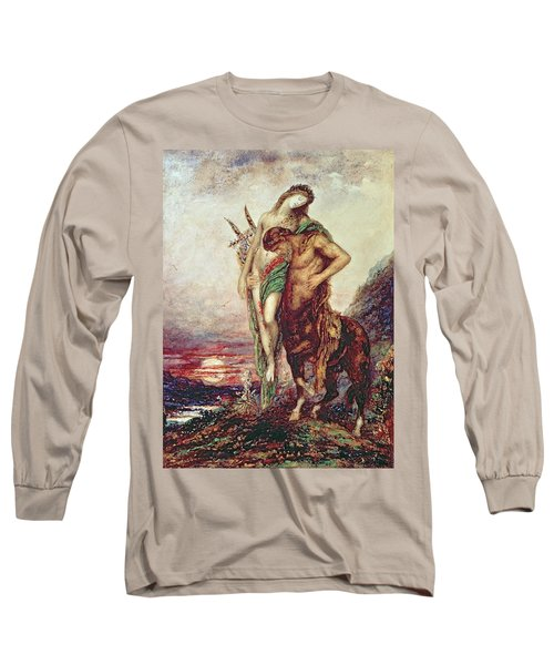 Dead Poet Borne By Centaur Long Sleeve T-Shirt by Gustave Moreau