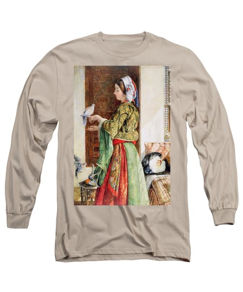 Girl With Two Caged Doves, Cairo, 1864 Long Sleeve T-Shirt by John Frederick Lewis