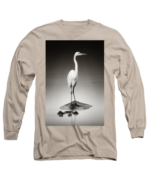 Great White Egret On Hippo Long Sleeve T-Shirt by Johan Swanepoel