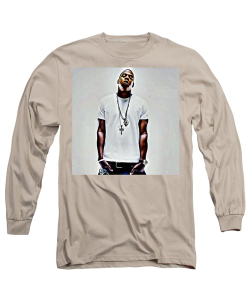 Jay-z Portrait Long Sleeve T-Shirt by Florian Rodarte