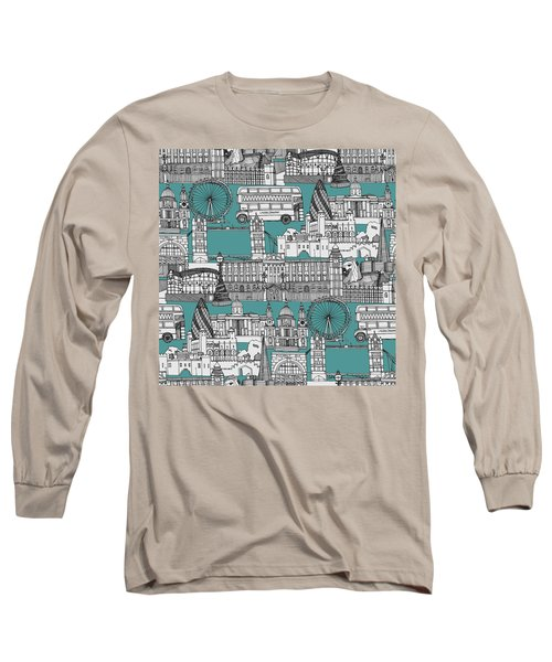 London Toile Blue Long Sleeve T-Shirt by Sharon Turner