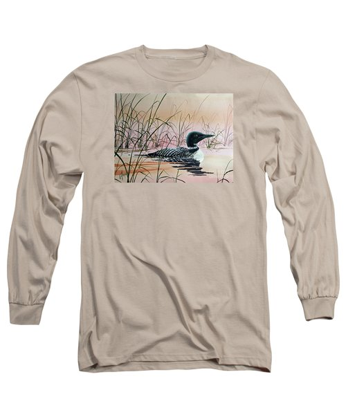 Loon Sunset Long Sleeve T-Shirt by James Williamson