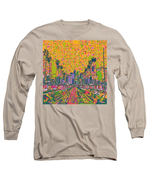 Los Angeles Skyline Abstract Long Sleeve T-Shirt by Bekim Art