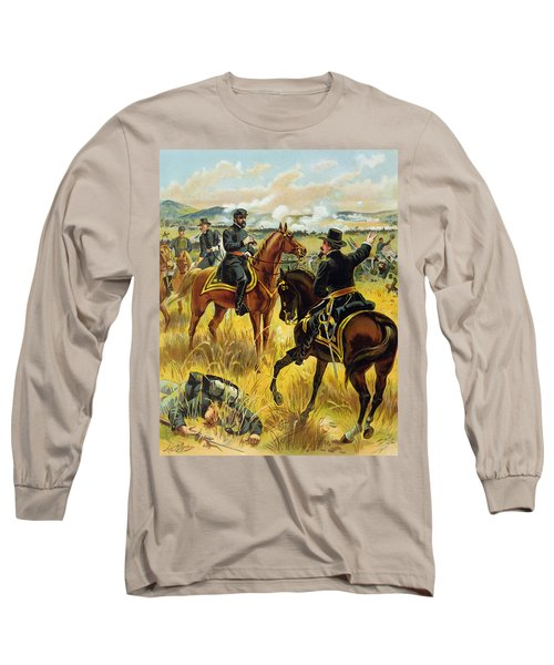 Major General George Meade At The Battle Of Gettysburg Long Sleeve T-Shirt by Henry Alexander Ogden