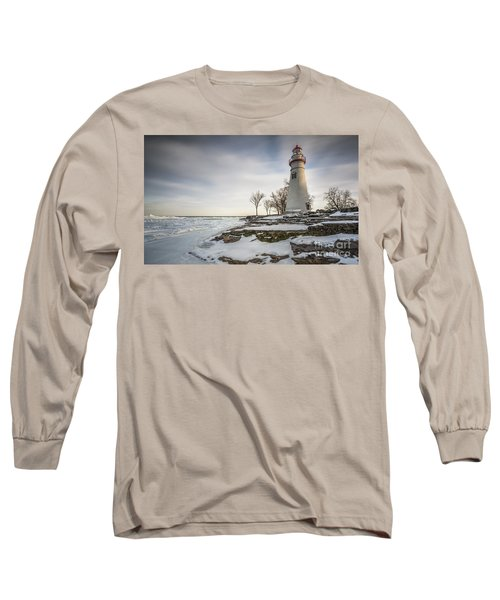 Marblehead Lighthouse Winter Long Sleeve T-Shirt by James Dean