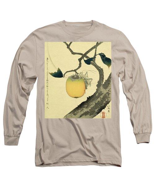 Moon Persimmon And Grasshopper Long Sleeve T-Shirt by Katsushika Hokusai