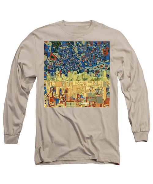 Nashville Skyline Abstract 9 Long Sleeve T-Shirt by Bekim Art