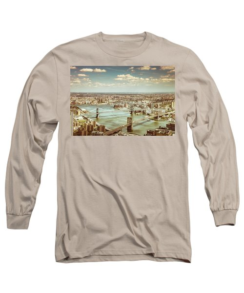 New York City - Brooklyn Bridge And Manhattan Bridge From Above Long Sleeve T-Shirt by Vivienne Gucwa
