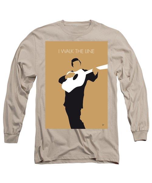 No010 My Johnny Cash Minimal Music Poster Long Sleeve T-Shirt by Chungkong Art