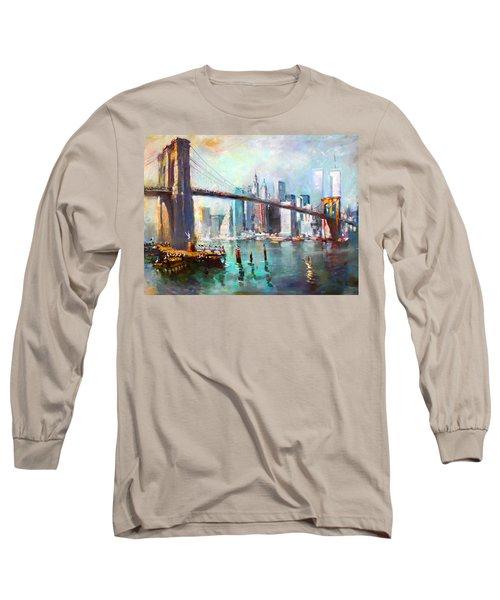 Ny City Brooklyn Bridge II Long Sleeve T-Shirt by Ylli Haruni