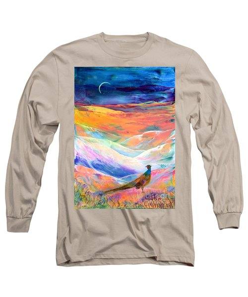 Pheasant Moon Long Sleeve T-Shirt by Jane Small