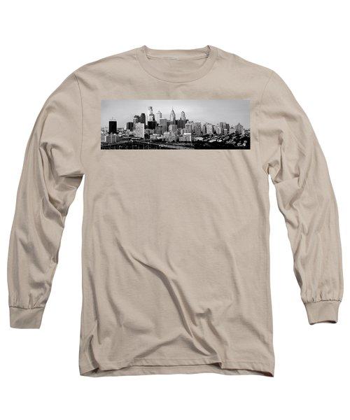 Philadelphia Skyline Black And White Bw Pano Long Sleeve T-Shirt by Jon Holiday