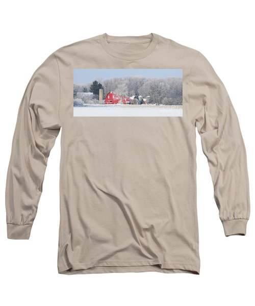 Red Barn Frosty Morning Panorama1 Long Sleeve T-Shirt by Jack Schultz