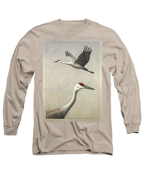 Sandhill Cranes Long Sleeve T-Shirt by James W Johnson