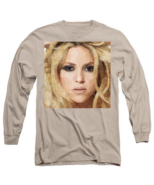 Shakira Portrait Long Sleeve T-Shirt by Samuel Majcen