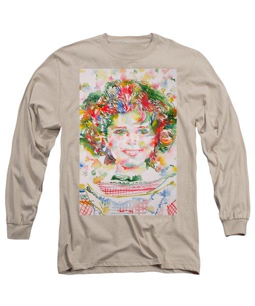 Shirley Temple - Watercolor Portrait.1 Long Sleeve T-Shirt by Fabrizio Cassetta