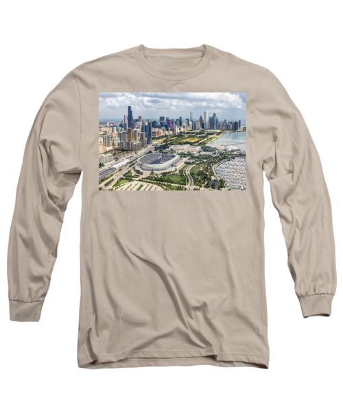 Soldier Field And Chicago Skyline Long Sleeve T-Shirt by Adam Romanowicz
