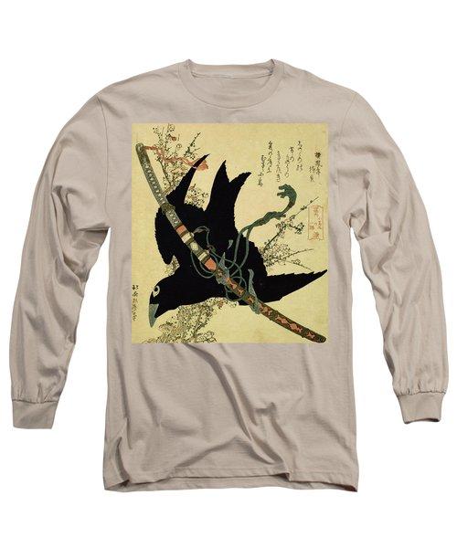 The Little Raven With The Minamoto Clan Sword Long Sleeve T-Shirt by Katsushika Hokusai