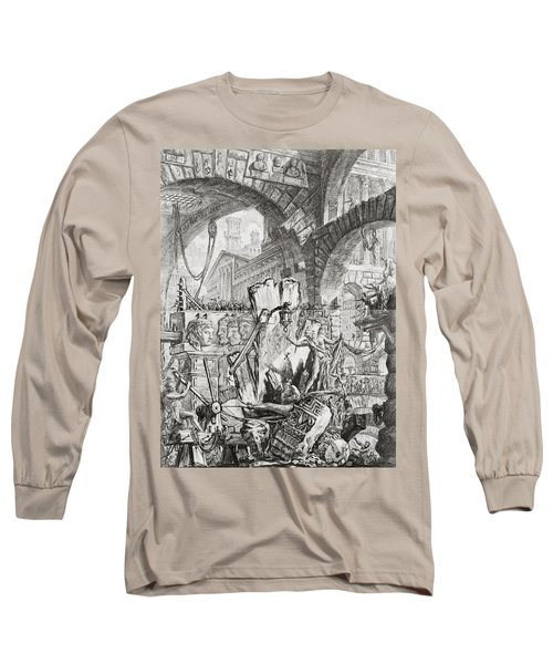 The Man On The Rack Plate II From Carceri D'invenzione Long Sleeve T-Shirt by Giovanni Battista Piranesi