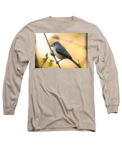 Titmouse In Gold Long Sleeve T-Shirt by Shane Holsclaw