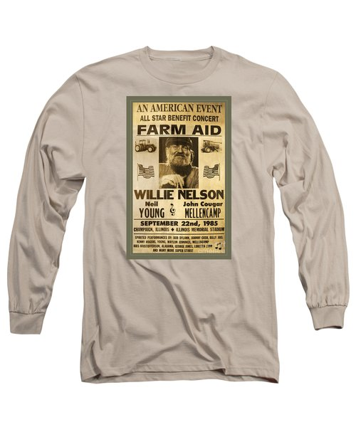 Vintage Willie Nelson 1985 Farm Aid Poster Long Sleeve T-Shirt by John Stephens