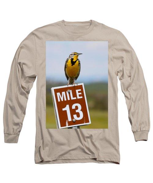 Western Meadowlark On The Mile 13 Sign Long Sleeve T-Shirt by Karon Melillo DeVega