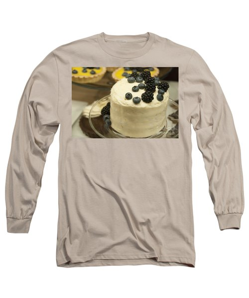 White Frosted Cake With Berries Long Sleeve T-Shirt by Juli Scalzi
