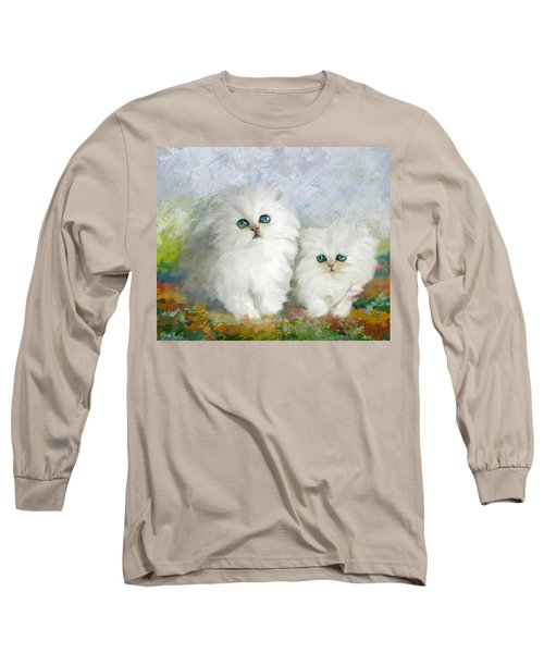 White Persian Kittens  Long Sleeve T-Shirt by Catf