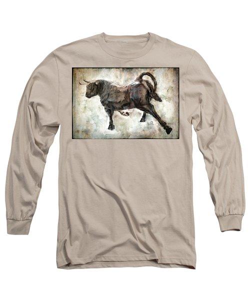 Wild Raging Bull Long Sleeve T-Shirt by Daniel Hagerman