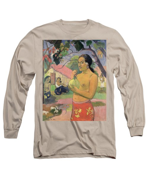 Woman With Mango Long Sleeve T-Shirt by Paul Gauguin