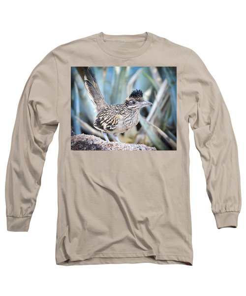 A Juvenile Greater Roadrunner  Long Sleeve T-Shirt by Saija  Lehtonen