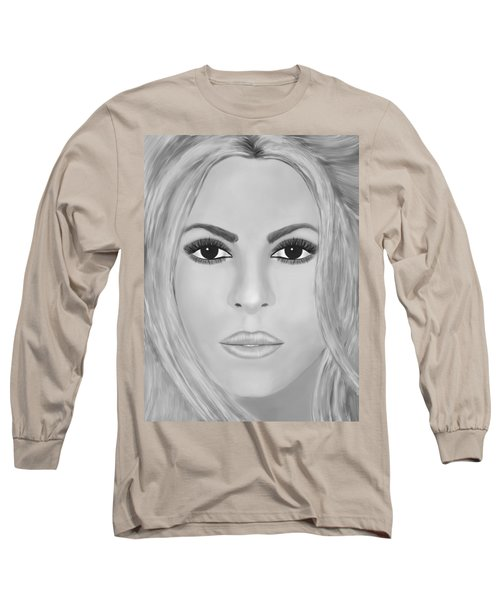 Shakira Black And White Long Sleeve T-Shirt by Mathieu Lalonde