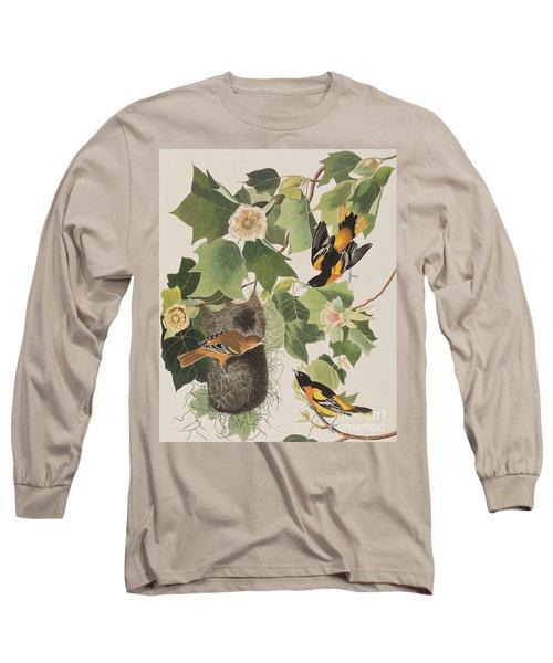 Baltimore Oriole Long Sleeve T-Shirt by John James Audubon