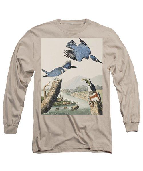 Belted Kingfisher Long Sleeve T-Shirt by John James Audubon