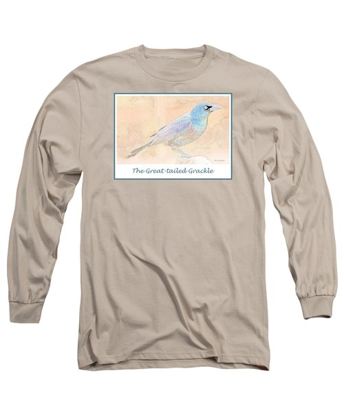 Long Sleeve T-Shirt featuring the digital art Great Tailed Grackle by A Gurmankin