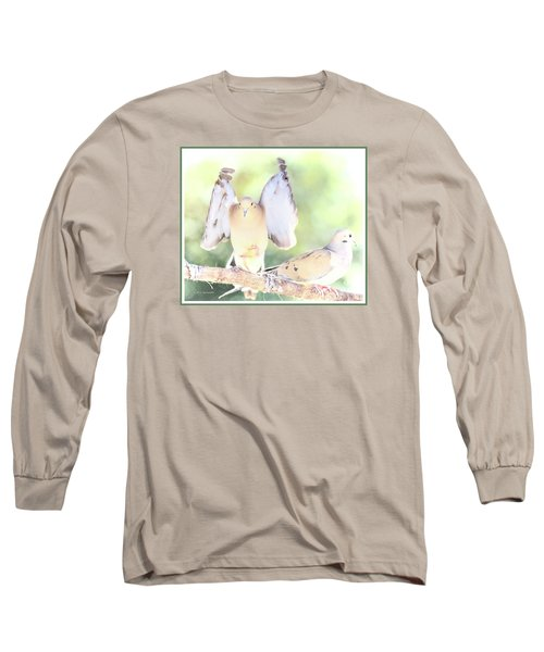 Long Sleeve T-Shirt featuring the digital art Mourning Dove Pair  by A Gurmankin