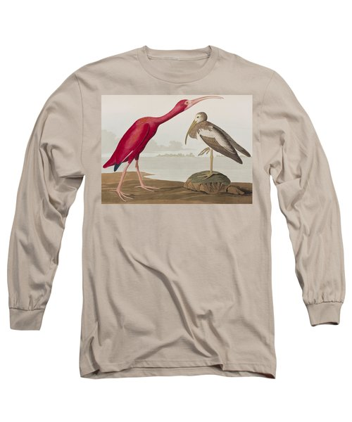 Scarlet Ibis Long Sleeve T-Shirt by John James Audubon