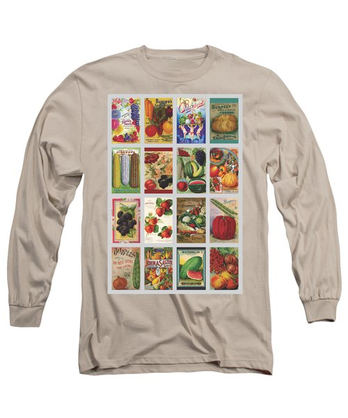 Vintage Farm Seed Packs Long Sleeve T-Shirt by Debbie Karnes